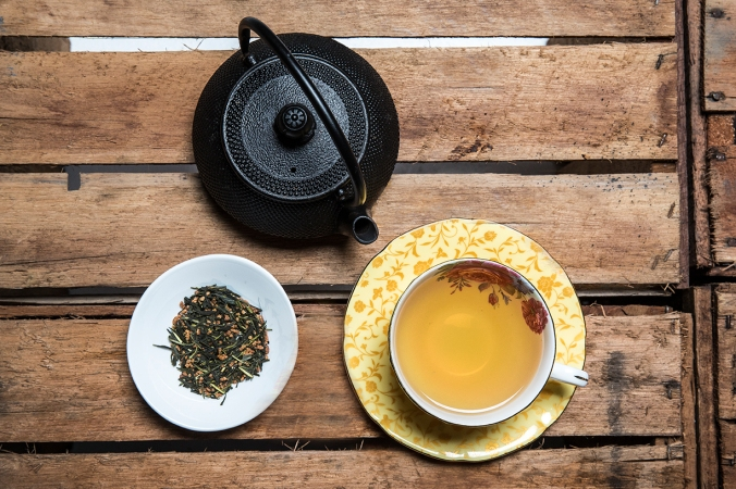 Green tea with cast iron teapot